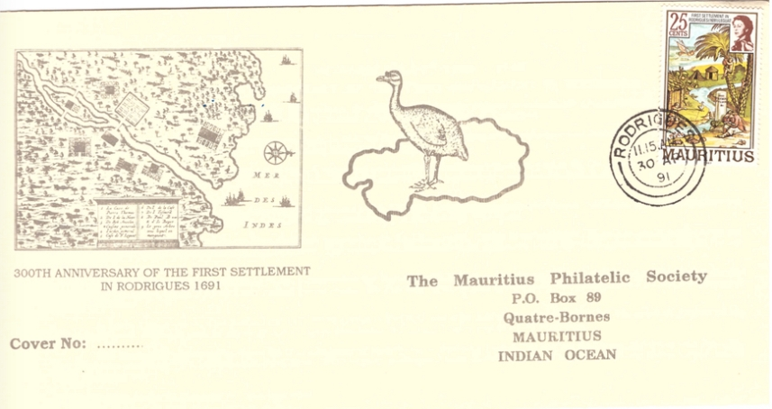 1991 30 April - 300th anniv of first settlement in Rodrigues - SC MPS