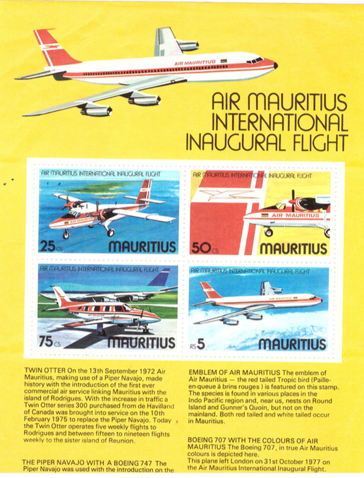 1980 To Enjoy High Reputation In The International Market Independent Boeing 767 In Flight ~air Mauritius~ Great Old Airline Issued Postcard C
